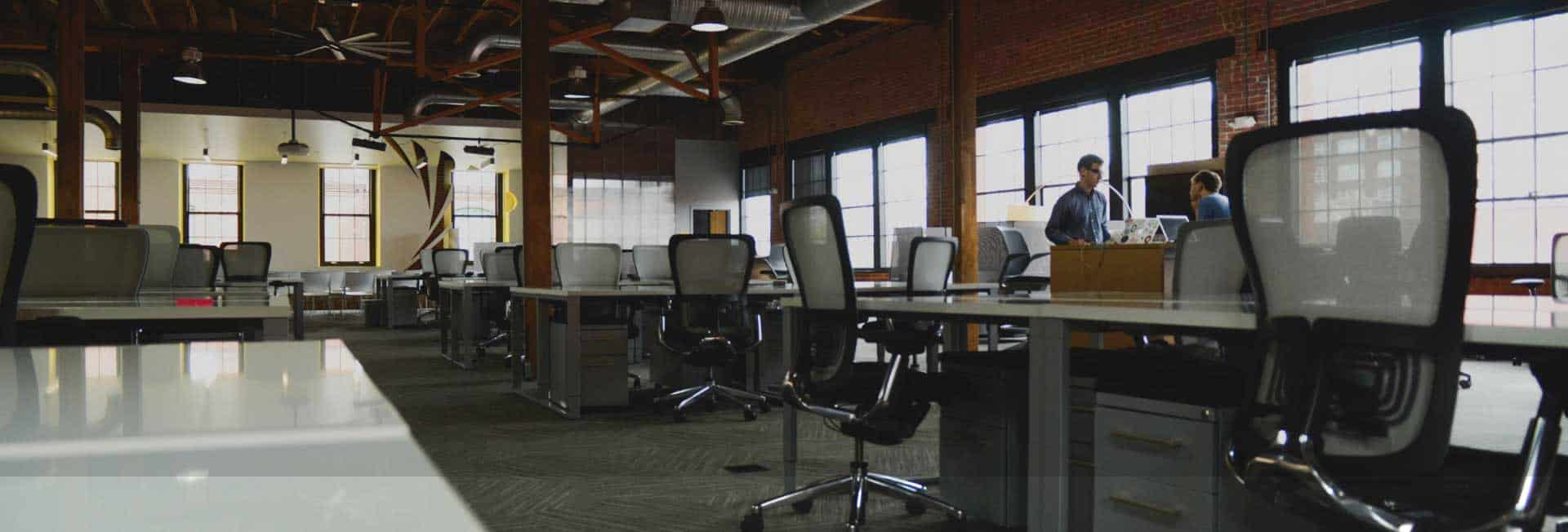 Office space with coworking desks