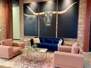 Lobby Area With Trendy Furniture and Longhorn Artwork